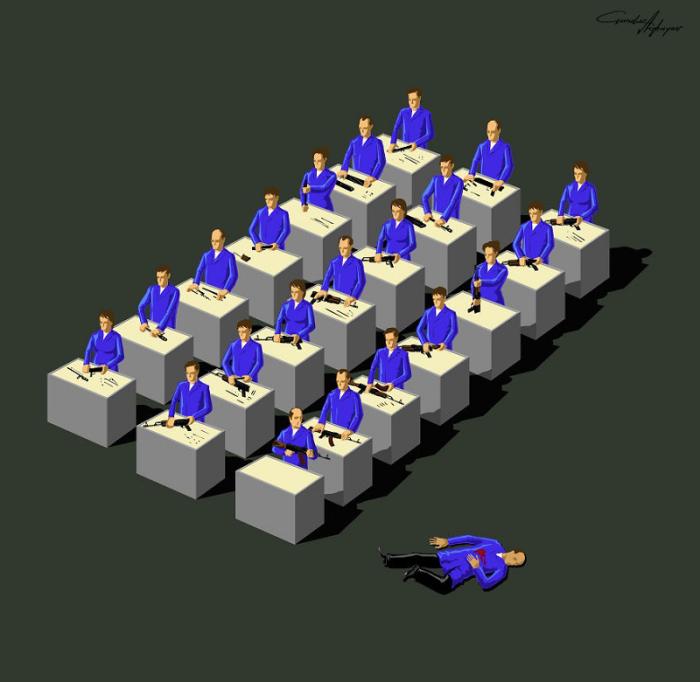 Жить благодаря производству оружия и умереть от него. Автор: Gunduz Agayev.