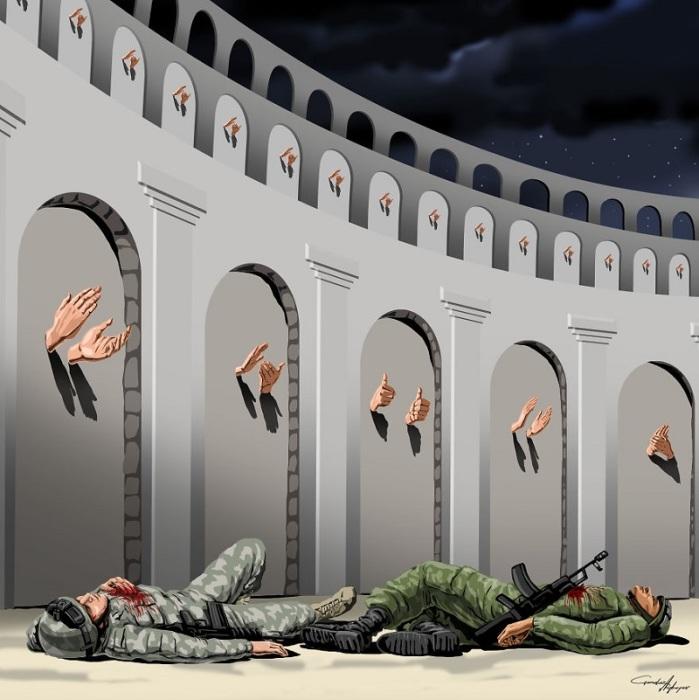Правду говорил Анри Барбюс: «Война будет повторяться до тех пор, пока вопрос о ней будет решаться не теми, кто умирает на полях сражений». Автор: Gunduz Agayev.