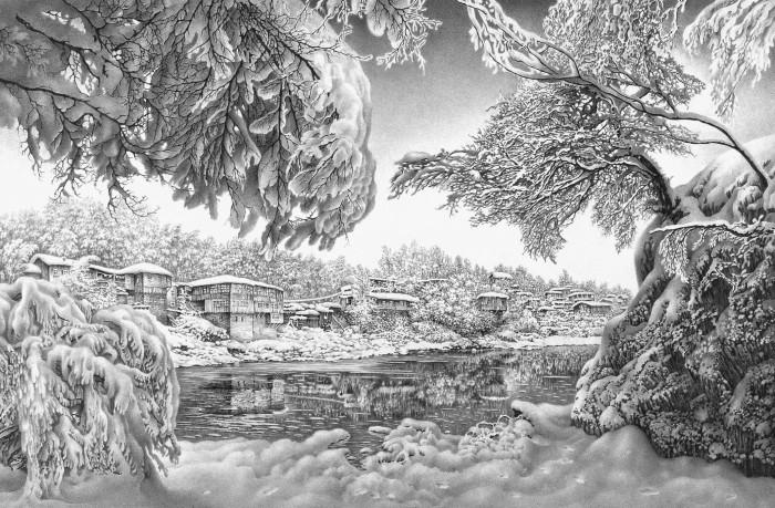 Зима на берегу Риони. Из серии «Кутаиси». Лист 1. Автор: Гурам Доленджашвили.