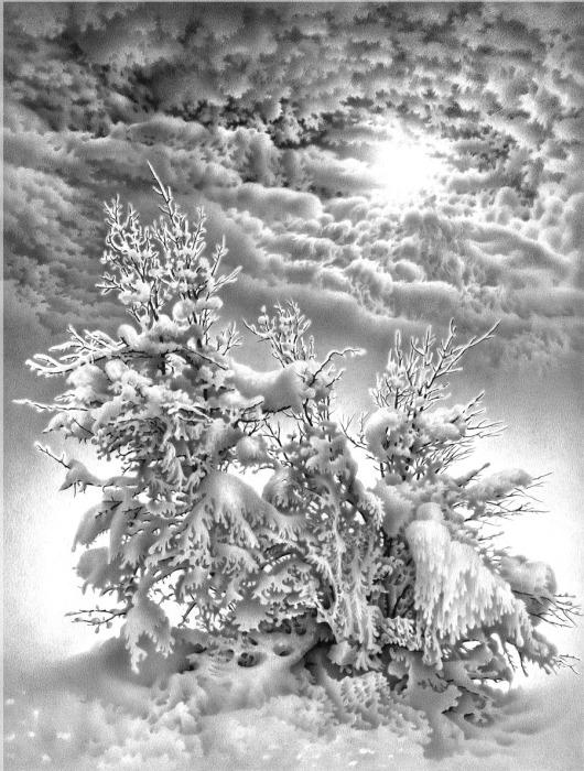 Симфония зимы. Из серии «Лунные ночи Имеретии». Автор: Гурам Доленджашвили.