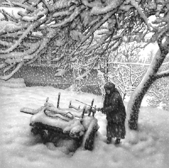 Снегопад. Лист 3. Автор: Гурам Доленджашвили.