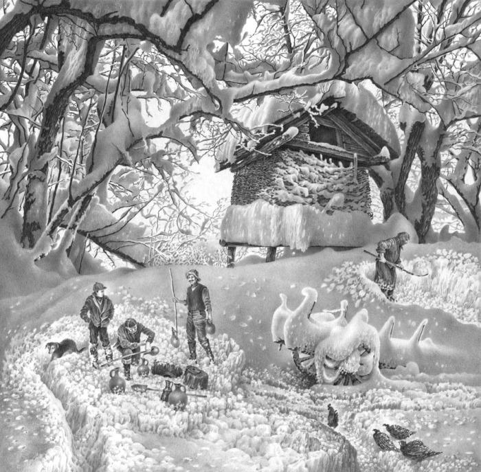 Имеретинская зима. Лист 3. Вариант 2. Автор: Гурам Доленджашвили.