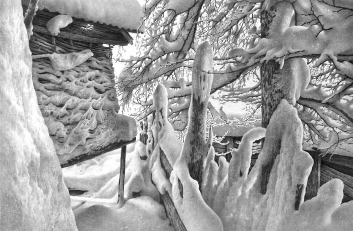 Имеретинская зима. Лист 6. Автор: Гурам Доленджашвили.