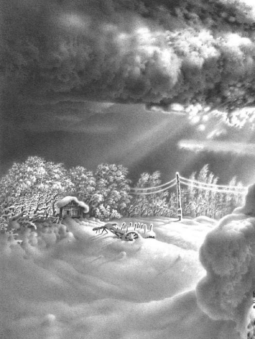 Имеретинская зима. Лист 16. Автор: Гурам Доленджашвили.