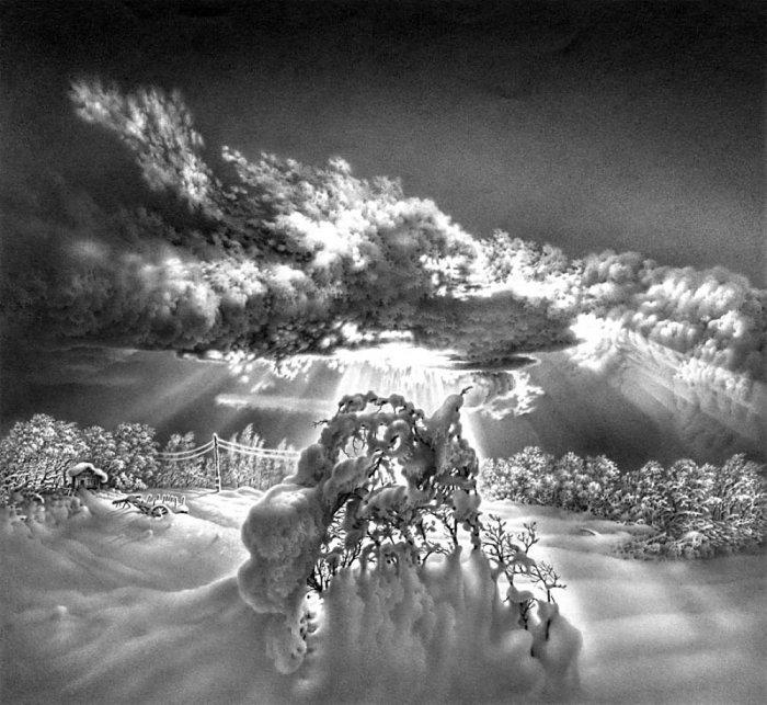 Имеретинская зима. Село Нагареви. Лист 16. Автор: Гурам Доленджашвили.