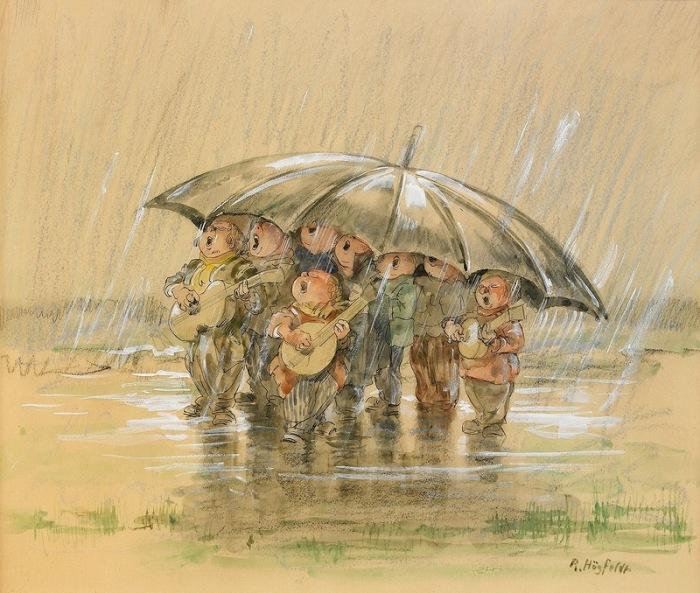 Хор под дождём. Автор: Gustav Robert Hogfeldt.