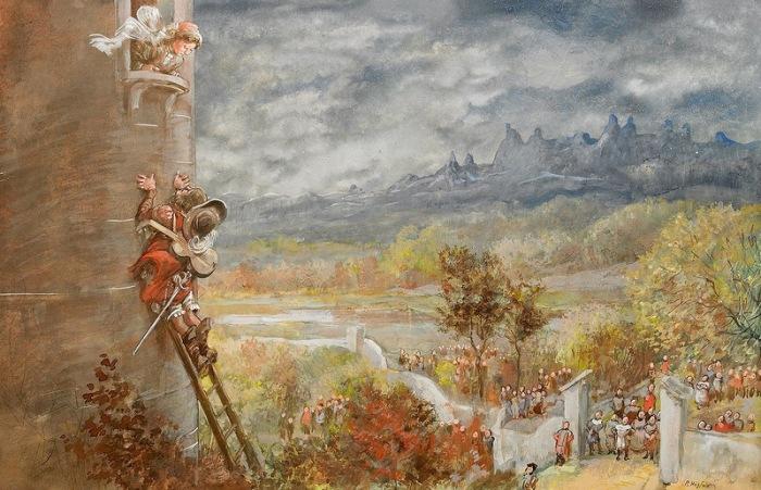 Принцесса в башне. Автор: Gustav Robert Hogfeldt.
