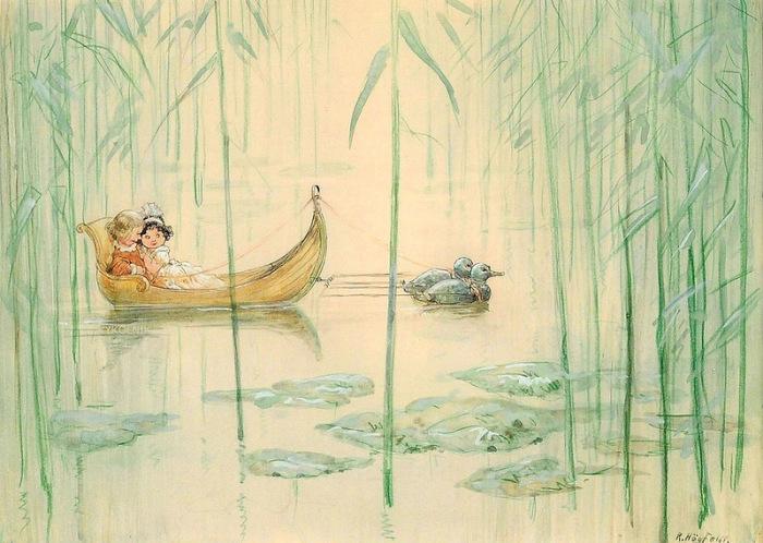 Прогулка на пруду. Автор: Gustav Robert Hogfeldt.