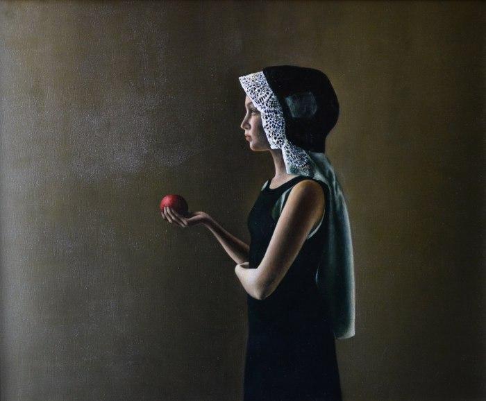 Девочка с яблоком. Автор: Halina Tymusz.