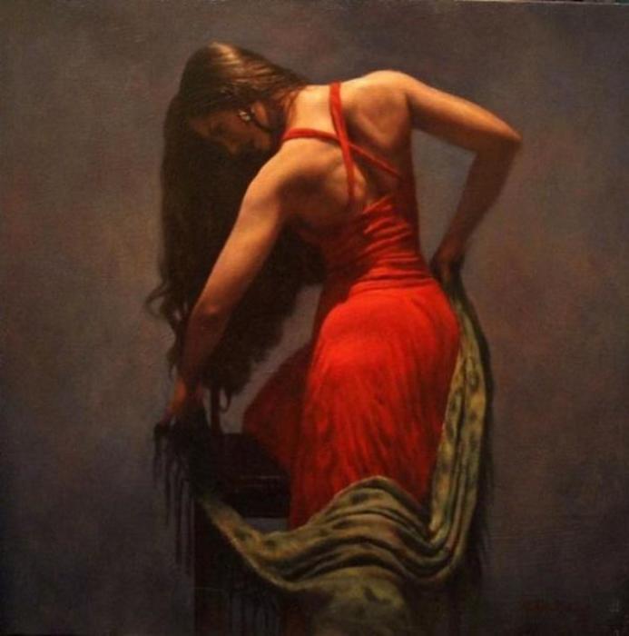 Девушка в красном платье. Автор: Hamish Blakely.