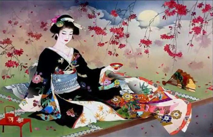 В мире гейши царит безраздельная власть ритуала: кимоно, макияж, церемонии чайного дома. Автор: Haruyo Morita.