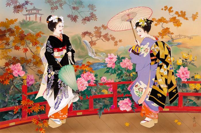 Гейши с зонтиком. Автор: Haruyo Morita.