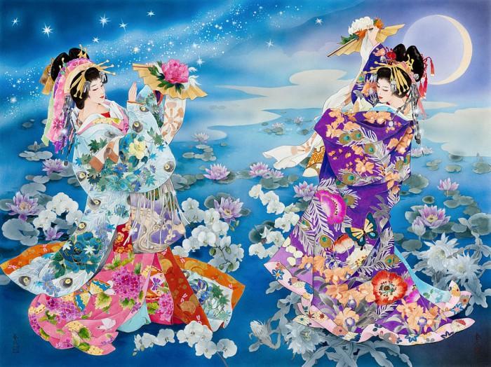 Танец с веером под луной. Автор: Haruyo Morita.
