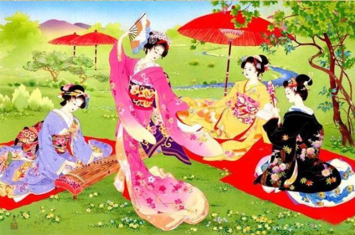 Традиционный японский танец в саду. Автор: Haruyo Morita.