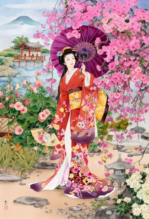 Знатная дама в цветущем саду. Автор: Haruyo Morita.