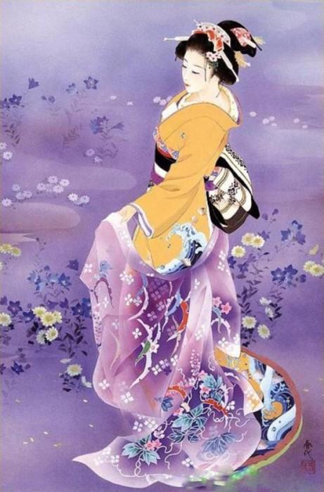 Прекрасная гейша в праздничном наряде. Автор: Haruyo Morita.