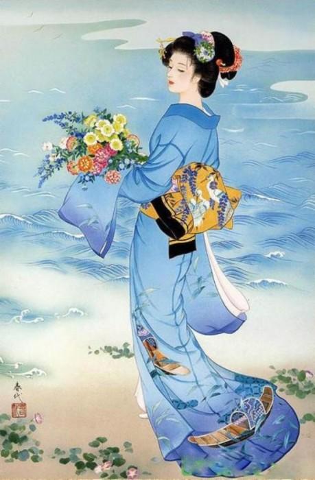 Молодая гейша на берегу. Автор: Haruyo Morita.