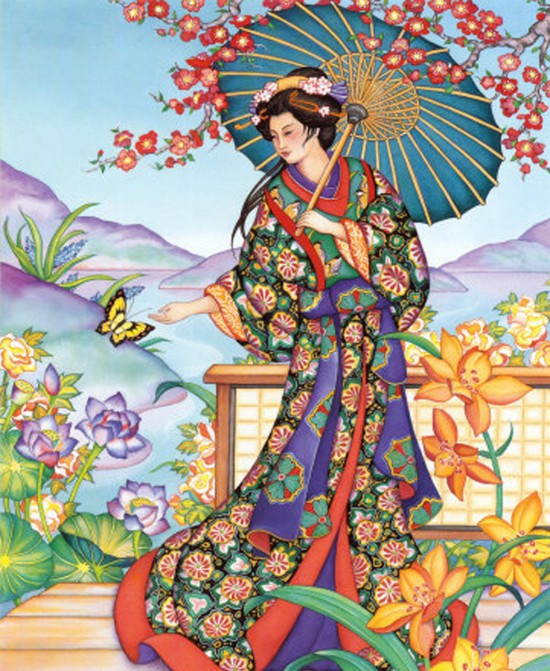 Знатная дама в роскошном костюме для прогулок Автор: Haruyo Morita.