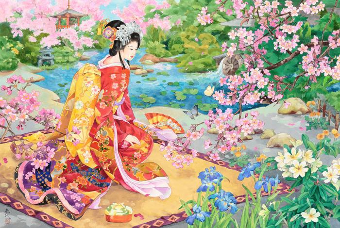 Сад цветущей сакуры. Автор: Haruyo Morita.