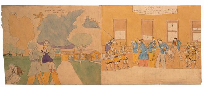 Слева направо: Жестокое обращение с Дженни, Генри Даргер. \ Ярмарка, Генри Даргер, 1940-1950 гг. \ Фото: collection.folkartmuseum.or.