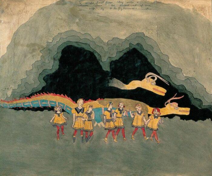 Им помогают выбраться из пещеры, иллюстрация к «Истории о девочках Вивиан», Генри Даргер. \ Фото: twitter.com.