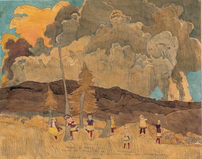 В лесу, иллюстрация к «Истории о девочках Вивиан», Генри Даргер. \ Фото: pinterest.com.