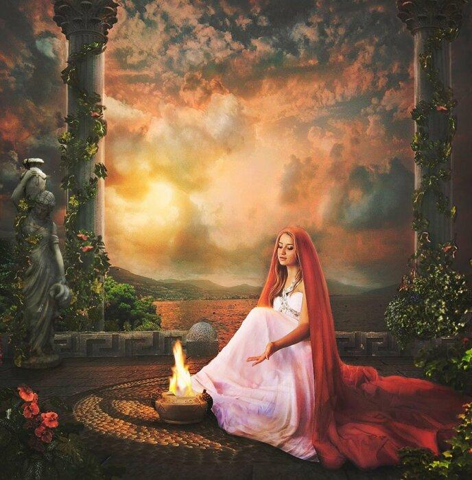 Гестия - богиня семейного очага и жертвенного огня. \ Фото: twitter.com.