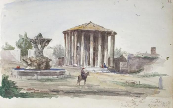 Храм Весты, Рим, Джон Сингер Сарджент, 1869 год. \ Фото: google.com.