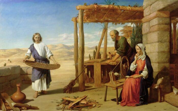 Джон Роджерс Герберт: Наш Спаситель с родителями в Назарете. \ Фото: pinterest.com.