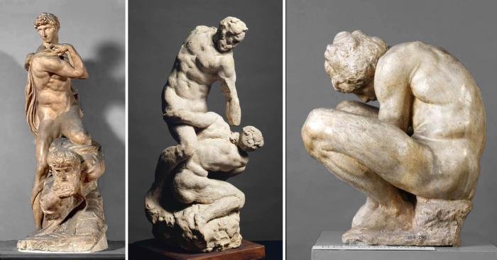 Слева направо: Дух победы, статуя Микеланджело, созданная в период между 1532-1534 гг. \ Два борца Микеланджело, 1530 год. \ Фото: artsandculture.google.com. \ Скорчившийся мальчик Микеланджело, 1533 год. \ Фото: collections.vam.ac.uk.