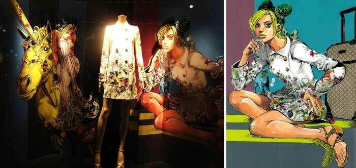 Слева направо: Фотография выставки GUCCI x JOJO в Нью-Йорке, сделанная Эри Сакума, 2013 год. \ Фото: beautynewstokyo.jp. \ Иллюстрация Джолин Куджо в весенней коллекции GUCCI 2013 год.  \ Фото: viz.com.