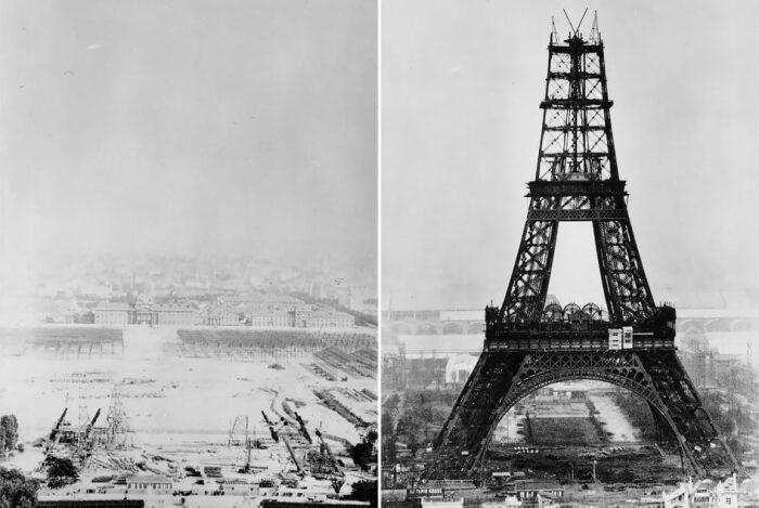 Строительство Эйфелевой башни, 1887-1889 гг. \ Фото: google.com.ua.