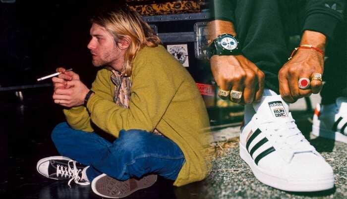 Слева направо: Курт Кобейн в чёрных кроссовках Converse. \ Run-DMC x Adidas Superstar. \ Фото: pinterest.com.