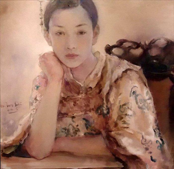 Китайская девушка.  Работы художника: Ху Джун Ди (Hu Jun Di).