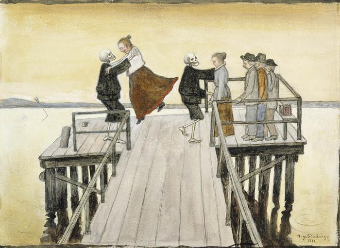 Танцы на набережной, 1899 год. Автор: Hugo Simberg.