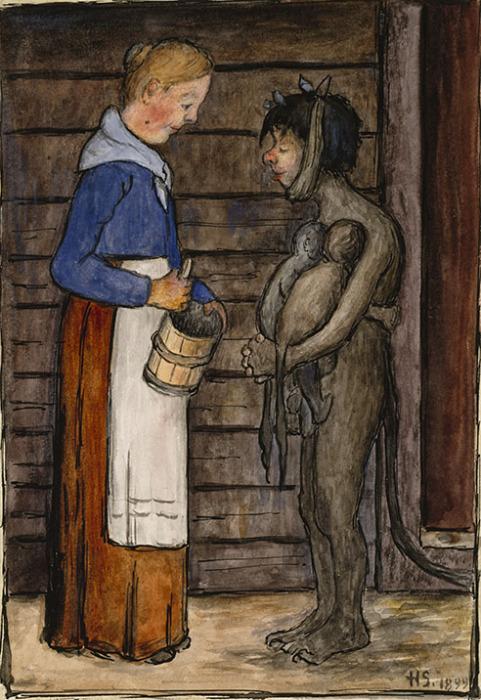 Жена фермера и бедняги, 1899 год. Автор: Hugo Simberg.