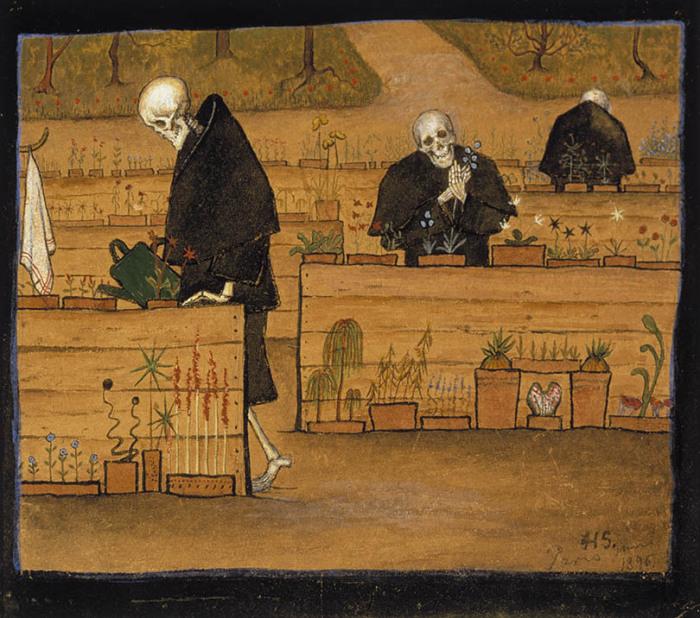 Сад смерти, 1896 год. Автор: Hugo Simberg.
