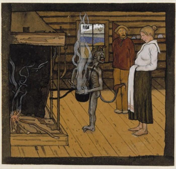 Чёрт у котла, 1897 год. Автор: Hugo Simberg.