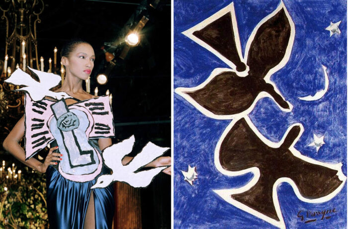 Слева направо: Платье в стиле Пикассо от Ива Сен-Лорана, 1988 год. \ Птицы Жоржа Брака, 1953 год. Фото: pinterest.com.