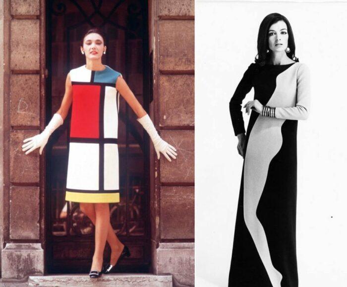 Слева направо: Коктейльное платье - дань уважения Питу Мондриану, 1965 год. \ Вечернее платье - дань уважения Тому Вессельману, 1966 год. \ Фото: vk.com.