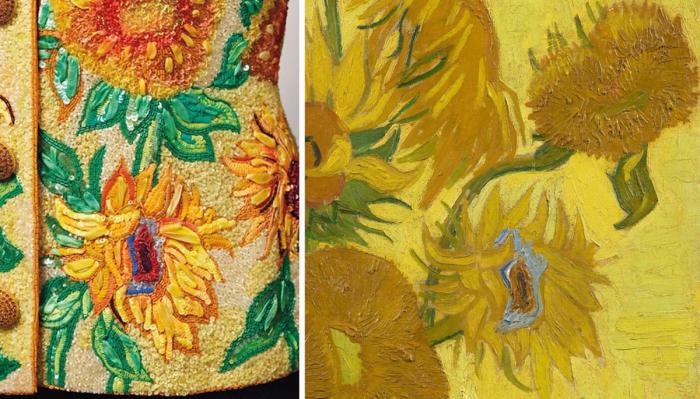 Слева направо: Фрагмент куртки в стиле Ван Гога, 1988 год. \ Знаменитые Подсолнухи Ван Гога, 1889 год. \ Фото: zhuanlan.zhihu.com.