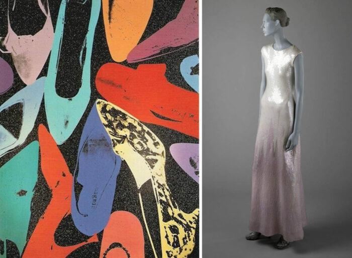 Слева направо: Алмазные туфли, 1980 год. \ Алмазные туфли с женским платьем, 1972 год. \ Фото: pinterest.com.