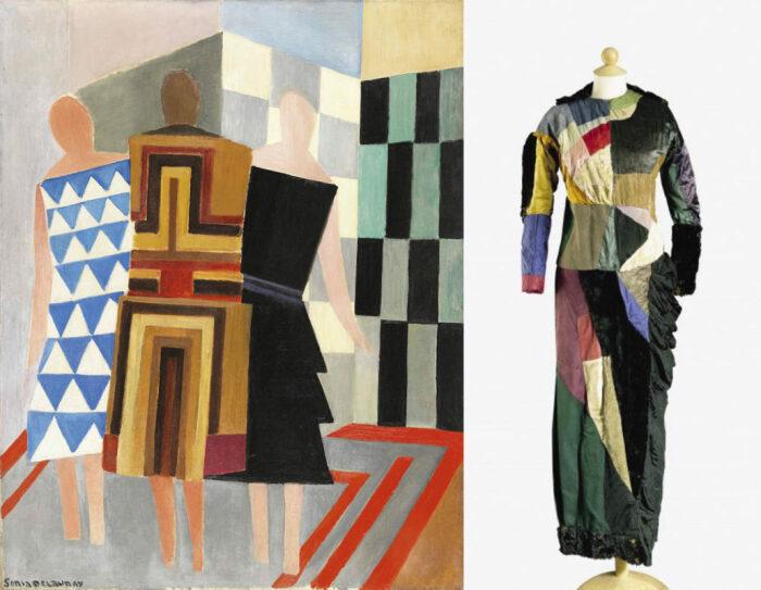 Слева направо: Три платья, Соня Делоне, 1925 год. \ Три платья в одном, 1913 год. \ Фото: yandex.ua.