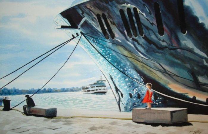 Девчка и лайнер. Автор: Игорь Дубовой.