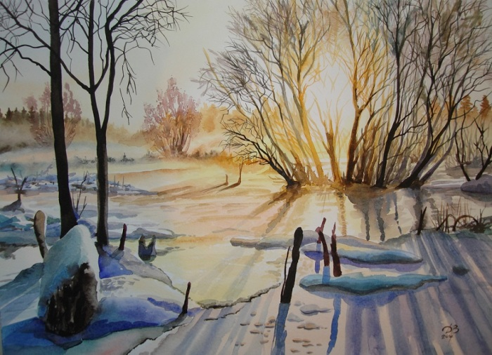 Лёд на речке. Автор: Игорь Дубовой.