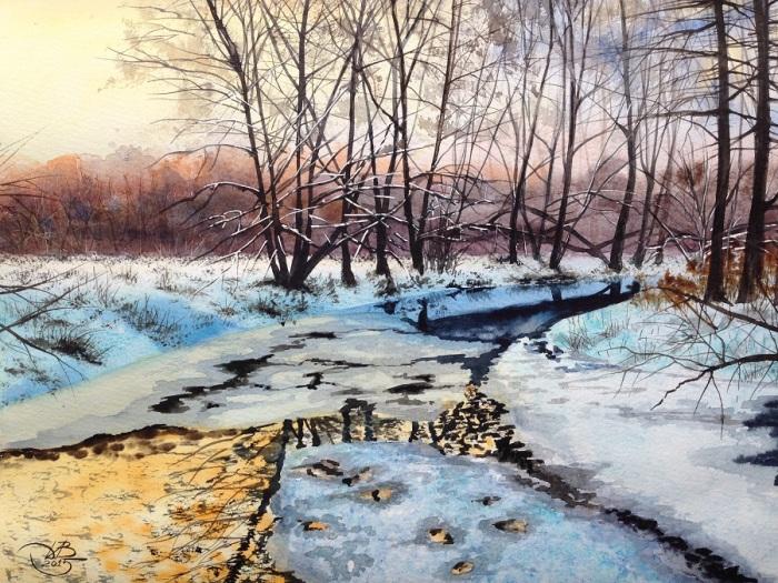 Замёрзшая река. Автор: Игорь Дубовой.
