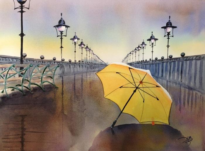 Одинокий жёлтый зонт. Автор: Игорь Дубовой.