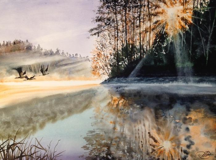 Рассвет на озере. Автор: Игорь Дубовой.