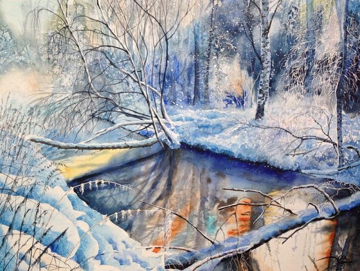 Зимняя речка. Автор: Игорь Дубовой.