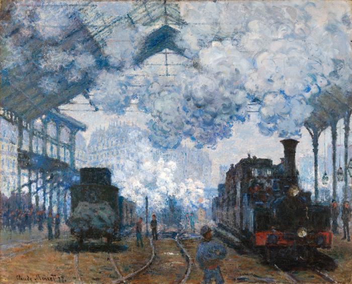 Вокзал Сен-Лазар: прибытие поезда, 1877 год.